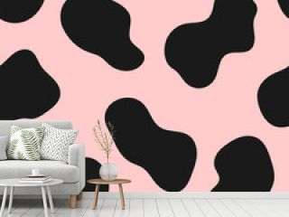 Simple seamless pattern with cow spots. Cute girly print. Vector illustration.
