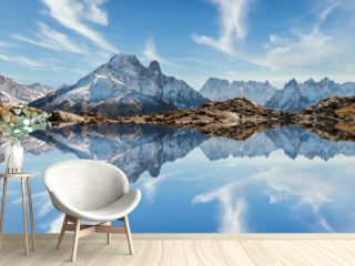 Reflection of Mont Blanc on lake in high mountains in the French Alps, Chamonix.