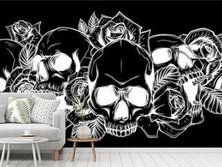 Skull and roses in black background Vector illustration