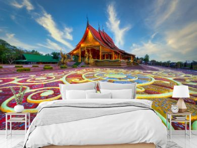 Beautiful floor pattern as foreground at Sirindhorn Wararam temple (Wat Phu Prao) at Ubonratchathani province in Thailand .