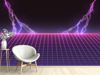 Laser Grid with Bolts of Lightning. Retro Futuristic Template in 80s Style. Synthwave, Retrowave, Vaporwave Theme