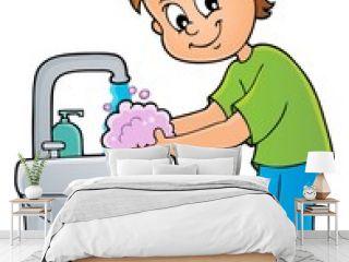 Boy washing hands theme 1