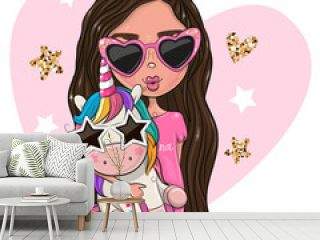 Cartoon Girl Princess in a pink glasses with Unicorn
