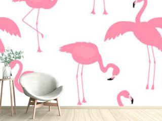 Vector flamingo bird seamless pattern