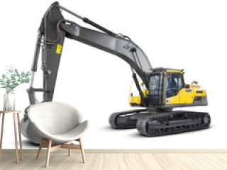 Excavator Isolated on White. Yellow Excavator Loader Machine. Side View of Front Hoe Loader. Industrial Vehicle. Heavy Equipment Machine. Pneumatic Truck. Construction Equipment
