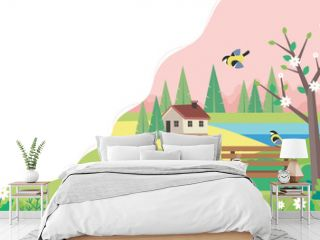 Hello spring landscape with bench, houses, fields and nature. Cute vector illustration in flat style