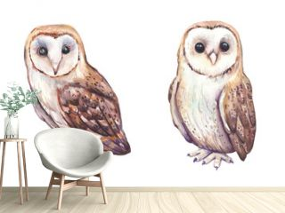 Watercolor hand painted owls with flowers and feathers bouquets. Watercolor boho owls characters clipart.