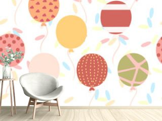Seamless pattern of flat balloons with different texture pattern flat vector illustration on white background