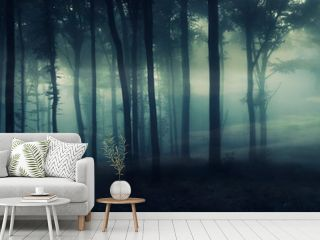 dark mysterious forest panorama, fantasy landscape