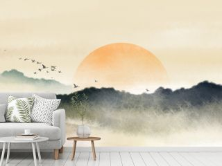 Chinese style Oriental ink painting,Ink landscape painting with warm colors in sunny days, traditional classical ink painting