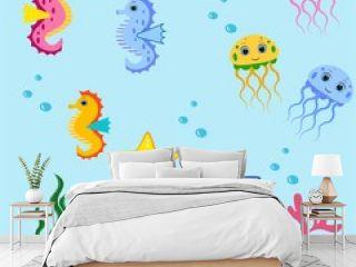 cute sea animals set.cartoon vector illustration. Marine life.