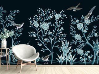 Vintage garden tree, birds, crane floral seamless border black background. Exotic chinoiserie wallpaper.