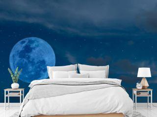 Blue full moon on the sky.
