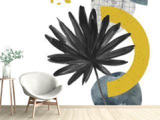 Modern art illustration with tropical palm leaf, grainy grunge textures, doodles, minimal elements