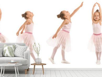 Cute little ballerina on white background