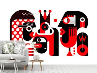 Red, black and light grey colors isolated on a white background Three People and One Bottle of Whisky vector illustration.