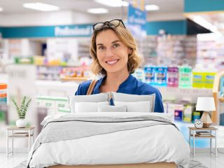 Smiling woman buying cosmetic product at pharmacy