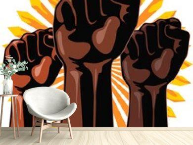 Black Power Raised Fists Symbols Slogan on Abstract yellow sun Vector Illustration