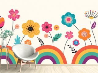 Hello summer, banner design with flowers and rainbows. Vector illustration