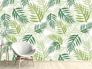 Tropical seamless pattern with palm tree leaves. Endless texture with beautiful green palm leaf silhouette on a white background.