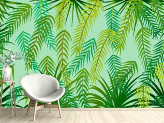 Vector background of tropical palm leaves