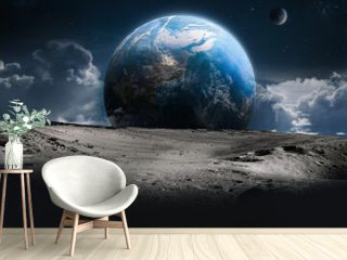 Surface of the Moon and clouds. Earth on background. Apollo space program. Sci fi wallpaper. Elements of this image furnished by NASA