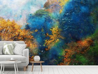 Abstract painting of trees in fall season, nature in autumn landscape image, digital watercolor illustration, art for background