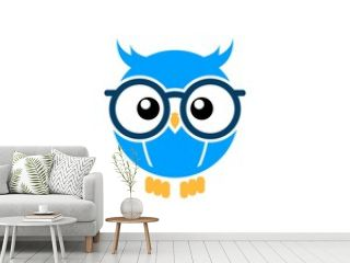 Cute and smart owl with eyeglass