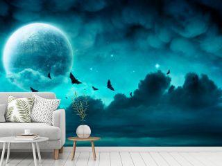 Halloween Night - Spooky Moon In Cloudy Sky With Bats