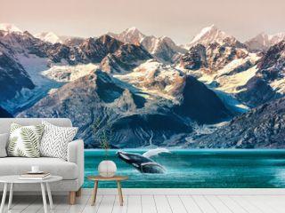 Alaska whale watching boat excursion. Inside passage mountain range landscape luxury travel cruise concept.