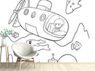 Ocean Explorer Submarine Coloring Book Page Vector Illustration Art