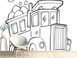 Cute Dump Truck Vector Illustration Coloring Page Art