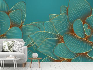 Luxurious green emerald background design with golden lotus. Lotus flowers line arts design for wallpaper, natural wall arts, banner, prints, invitation and packaging design. vector illustration..