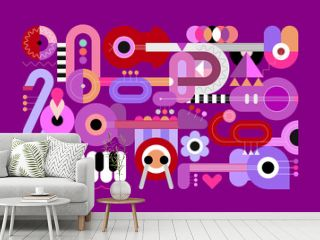 Geometric style vector illustration of different musical instruments isolated on a violet background. Graphic design with guitars, trumpets, sax, piano and drum.
