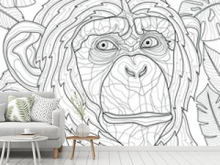 Chimpanzee Tropical Leaves. Animal.Coloring book antistress for children and adults. Zen-tangle style.Black and white drawing