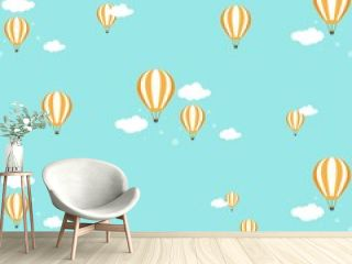 hot air baloons flying in the blue sky with clouds. Flat cartoon vector illustration.