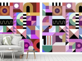 Two options of Abstract design with many different colorful geometric shapes. Vector geometry art seamless background.