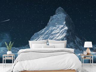 panoramic view to the majestic Matterhorn mountain at night. Valais, Switzerland