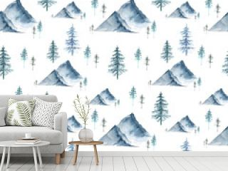 seamless pattern with watercolor illustrations of mountains and forest trees christmas trees on a white background, hand painted