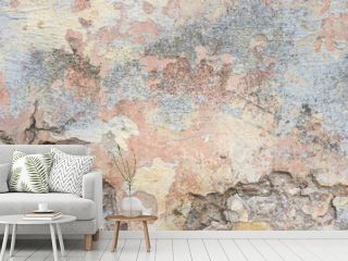 Textured grunge background. Old plastered wall with a multilayer cracked coating. Grunge texture with a deep pattern on whitewashed wall