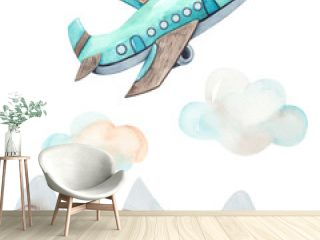Watercolor children composition Transport by Air with cute plane, mountains, clouds