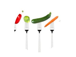row of tasty vegetables on forks isolated on white background