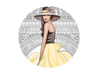 Young pretty fashion model with hat in Paris