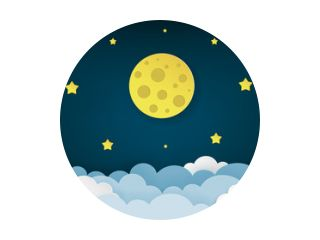 Full moon, stars, and clouds on the dark midnight sky background. Night sky scenery background. Paper art style. Clean and minimal design. Vector Illustration.