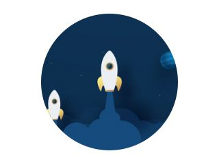 Rocket Leadership Concept with Paper Art or Origami Design Vector illustration Night sky, shining stars, moon, planets, fluffy clouds.