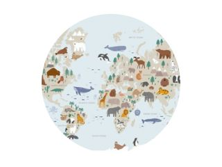 Animals world map for kids. Poster with cute vector animals in flat style. Cartoon doodle characters in scandinavian style for children