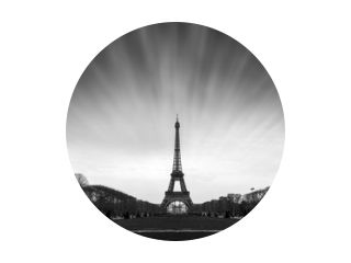 Beautiful tranquil long exposure view of the Eiffel tower in Paris, France, in black and white