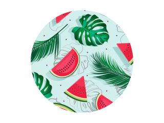 Seamless pattern watermelons with tropical leaf, slice of watermelon vector illustration on blue background, Tropical fruit pattern summer style