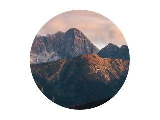 Mountain peaks at sunset. Tatra Mountains in Poland.