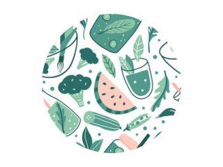 Hand drawn doodle vegan seamless pattern
